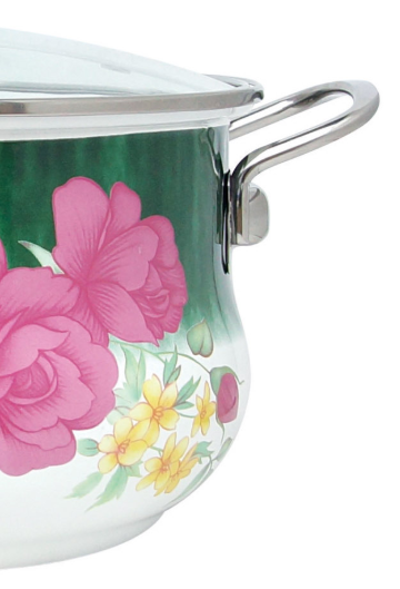 Эмалированная кастрюля с крышкой Benson BN-114 белая с цветочным декором (4.8 л) | кухонная посуда | кастрюли PR4