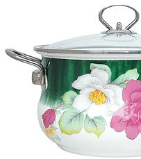 Эмалированная кастрюля с крышкой Benson BN-114 белая с цветочным декором (4.8 л) | кухонная посуда | кастрюли PR4, фото 3