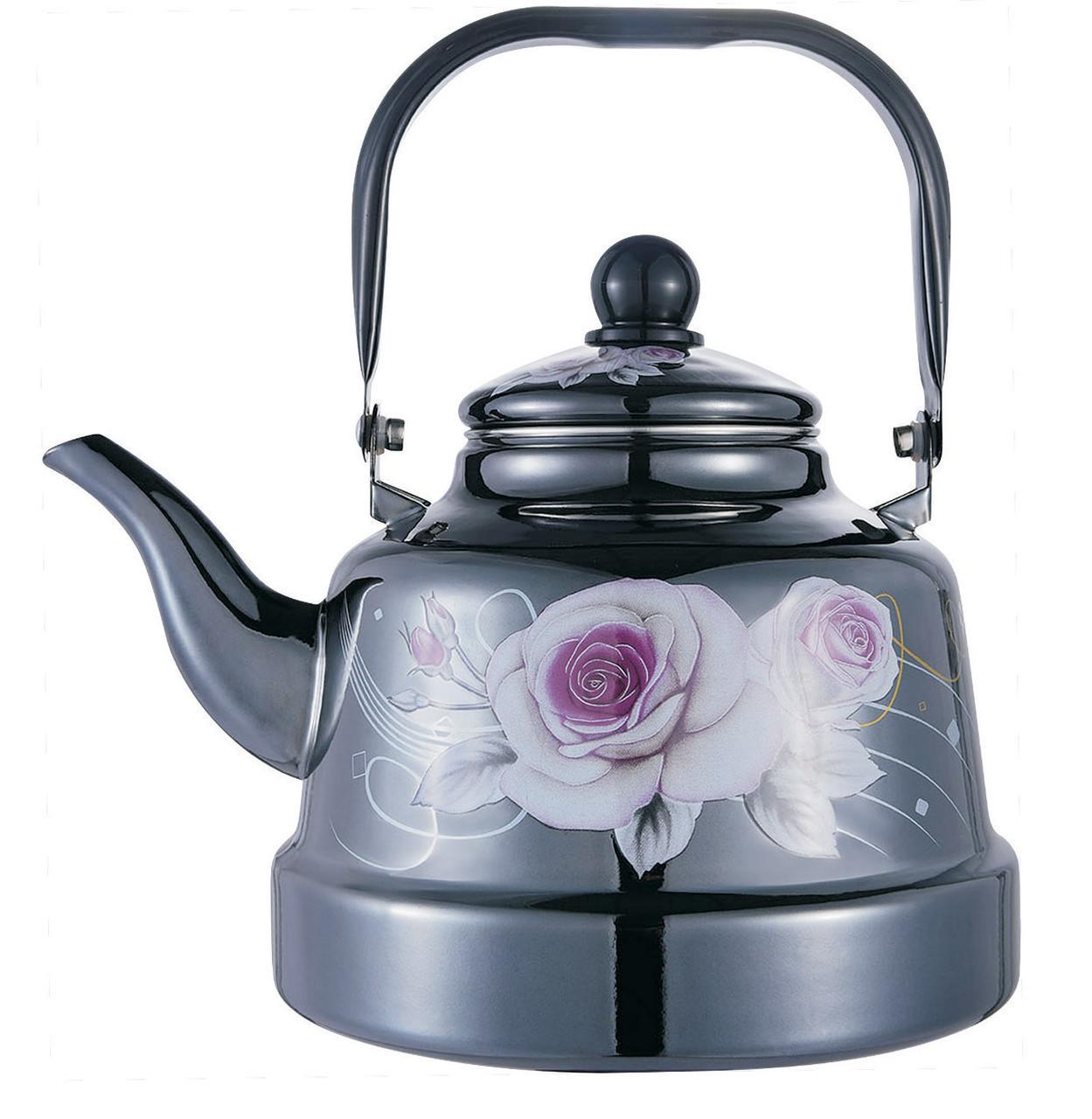Емальований чайник з рухомою ручкою Benson BN-104 чорний з малюнком (1.1 л) PR3