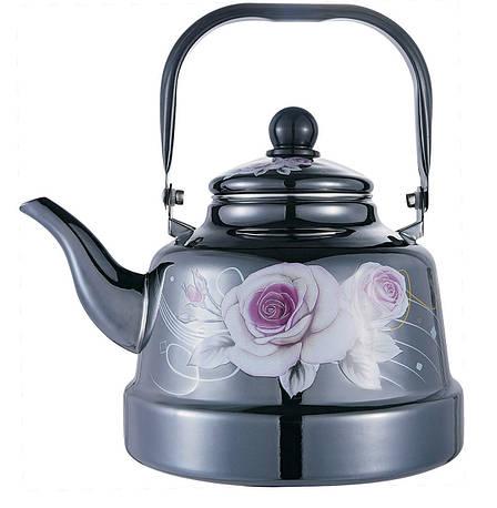 Емальований чайник з рухомою ручкою Benson BN-104 чорний з малюнком (1.1 л) PR3, фото 2