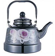 Емальований чайник з рухомою ручкою Benson BN-104 чорний з малюнком (1.1 л) PR3, фото 3