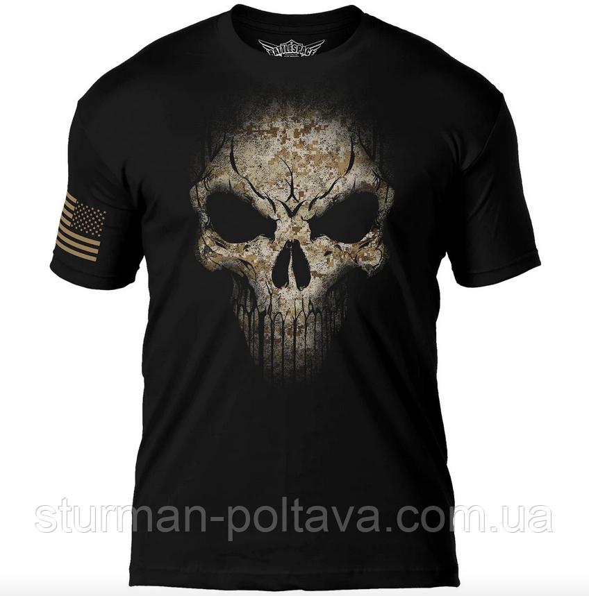 Футболка  мужская  Дух война  7.62 Design USMC Desert MARPAT Skull  Battlespace Men's T-Shirt