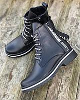 Ботинки женские из натуральной кожи на низком ходу удобные качественные комфортные 38 размер MKraFVT 2178 2021