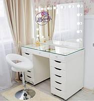 Стол для визажиста с гримерным зеркалом со столешницей-витриной, гримерный стол, цвет - белый