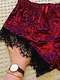 Піжама жіноча оксамитова з мереживом. Комплект з топа і шортів велюровий для дому, сну, р. S (бордовий), фото 6
