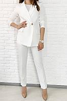 Женский стильный брючный костюм с пиджаком свободного кроя Цвет кофе, молоко, горчица, фото 1