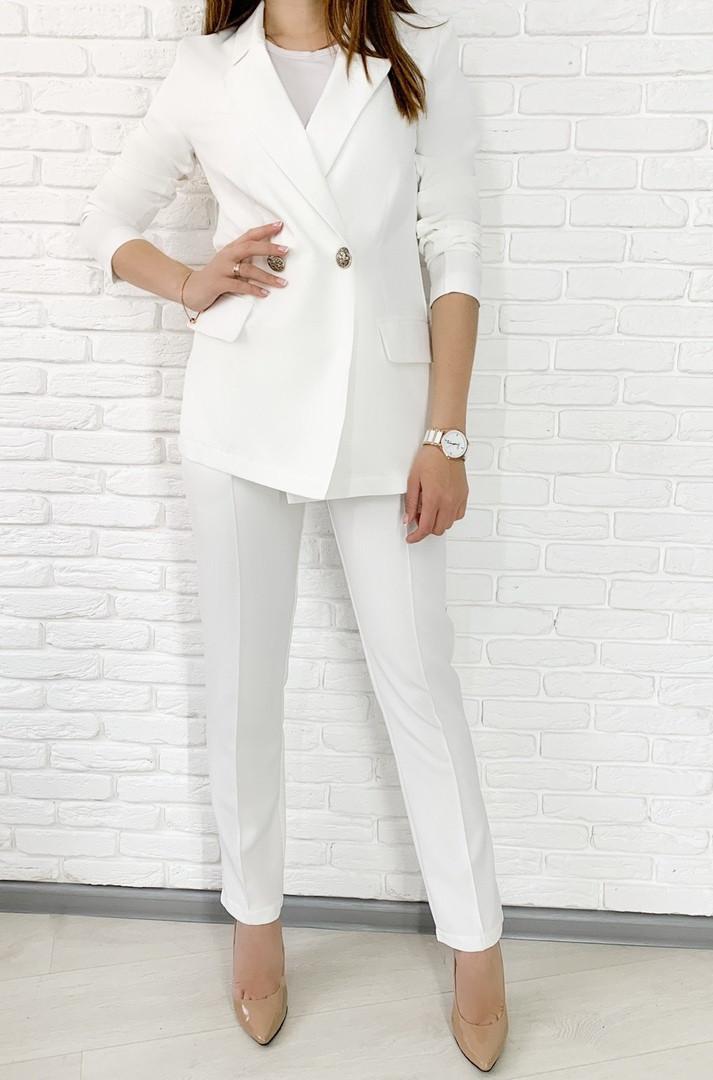 Женский стильный брючный костюм с пиджаком свободного кроя Цвет кофе, молоко, горчица