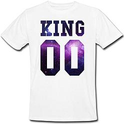 Мужская именная футболка KING - Space (принт спереди) [Цифры можно менять] (50-100% предоплата)