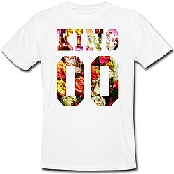 Мужская именная футболка KING - Flowers (принт спереди) [Цифры можно менять] (50-100% предоплата)