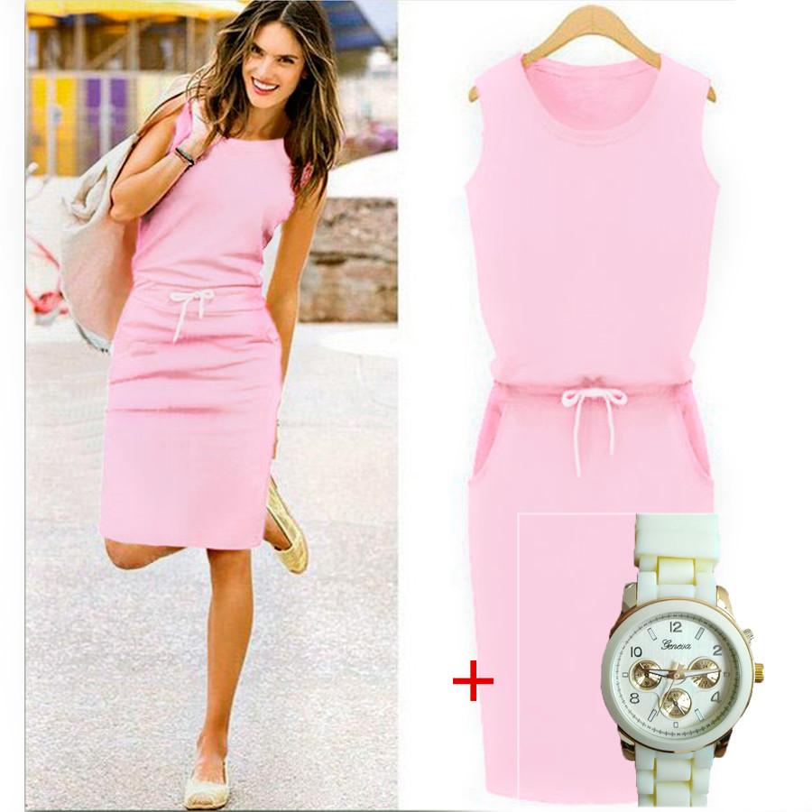 Розовое платье Jenny (Код MF-154) + Часы в подарок!