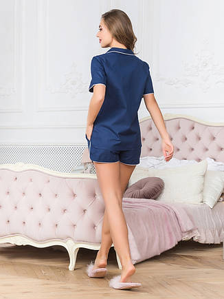 Комплект для сну жіночий з шортами синій, фото 2