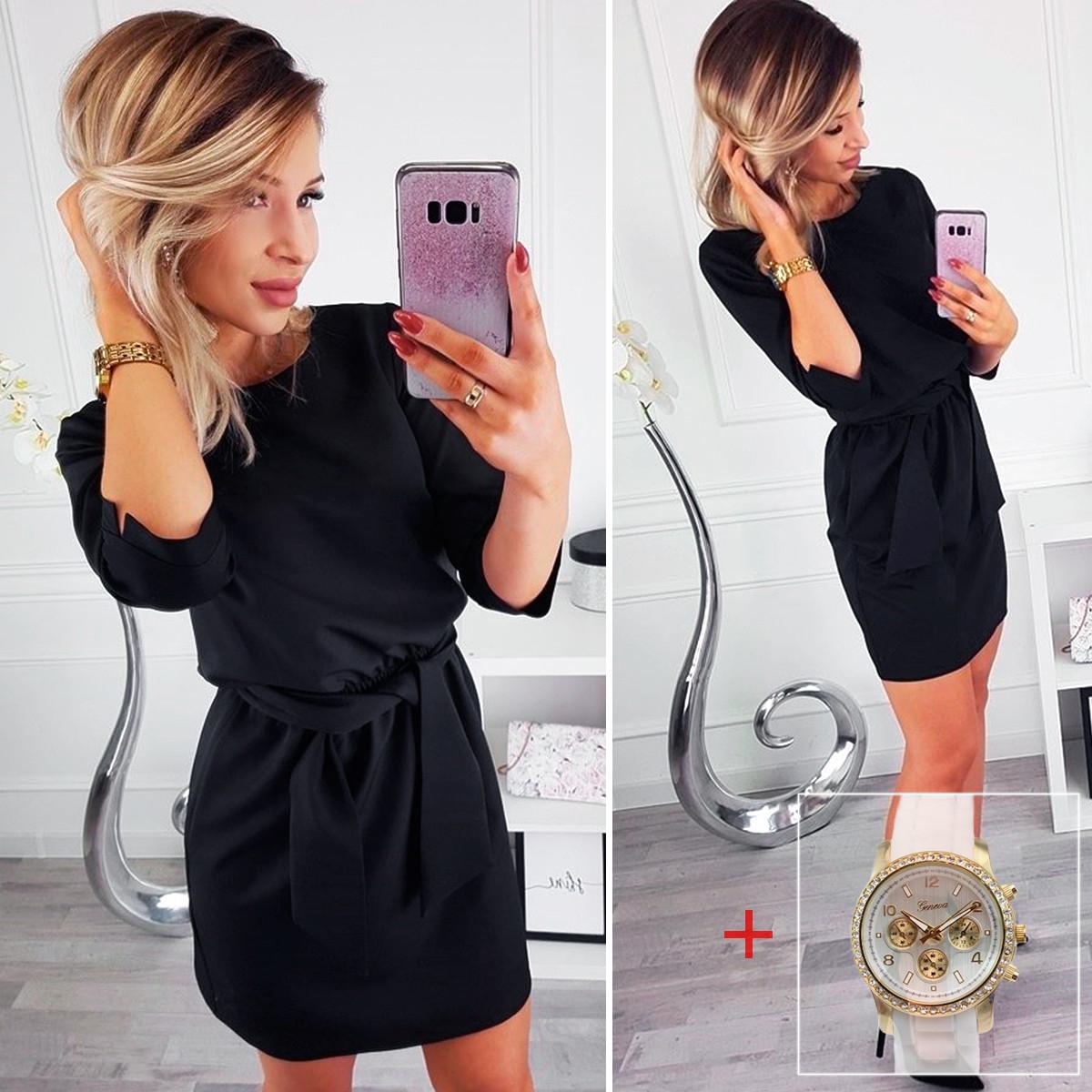 Черное свободное нарядное платье (Код MF-203) + Часы в подарок!