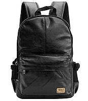 Мужской рюкзак Three-Box из эко-кожи, черного цвета