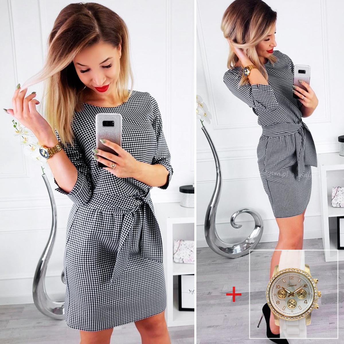 Платье в принт гусиная лапка (Код MF-203) + Часы в подарок!
