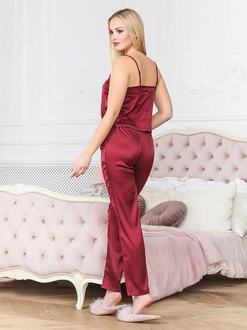 Бордовая пижама из шелка женская, фото 2