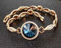 Браслет фирмы Xuping с кристаллами Swarovski. Цвет металла: позолота. Длина: 17-20см.