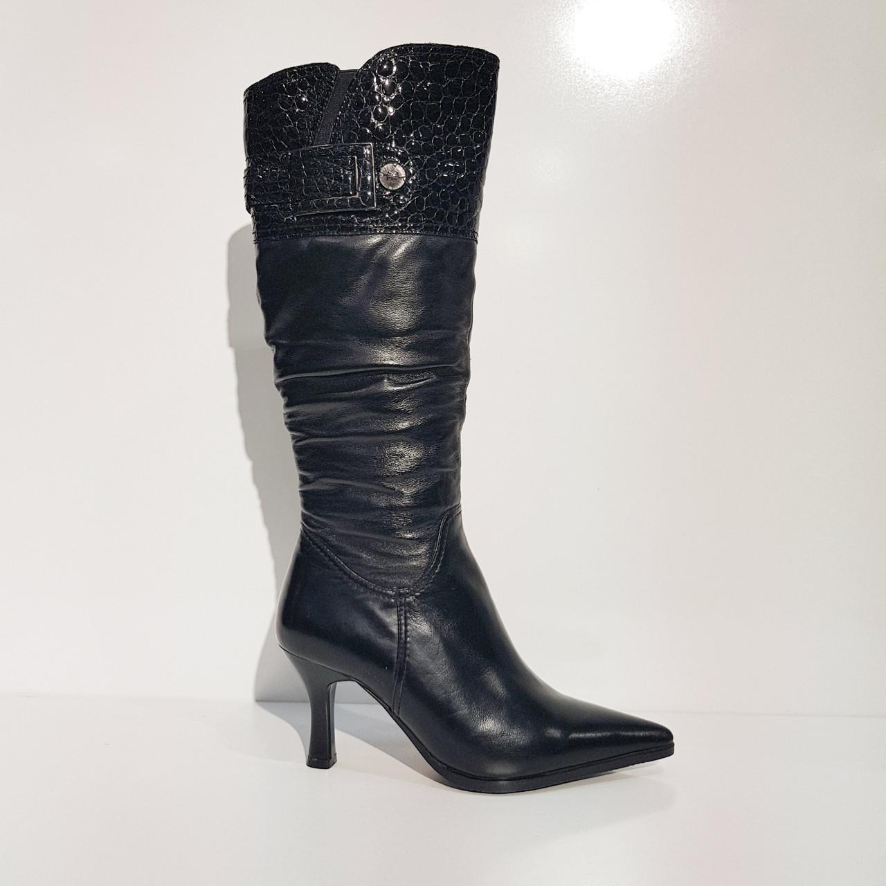 Сапоги  зимние натуральная кожа и натуральный мех на каблуке черные