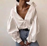 Рубашка женская с длинным рукавом Ткань рубашечный коттон Цвета:чёрный и белый
