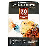 Бумага для акварели Watercolor Pad  А4 21 x 29.7 см, 300 г/м2 20 листов + 2 кисти (0709004), фото 3