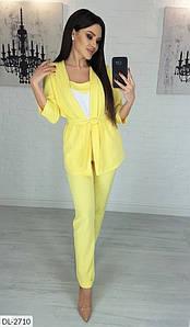 Женский классный весенне-осенний брючный костюм 3-ка,кардиган+брюки+майка (креп костюмка) много цветов