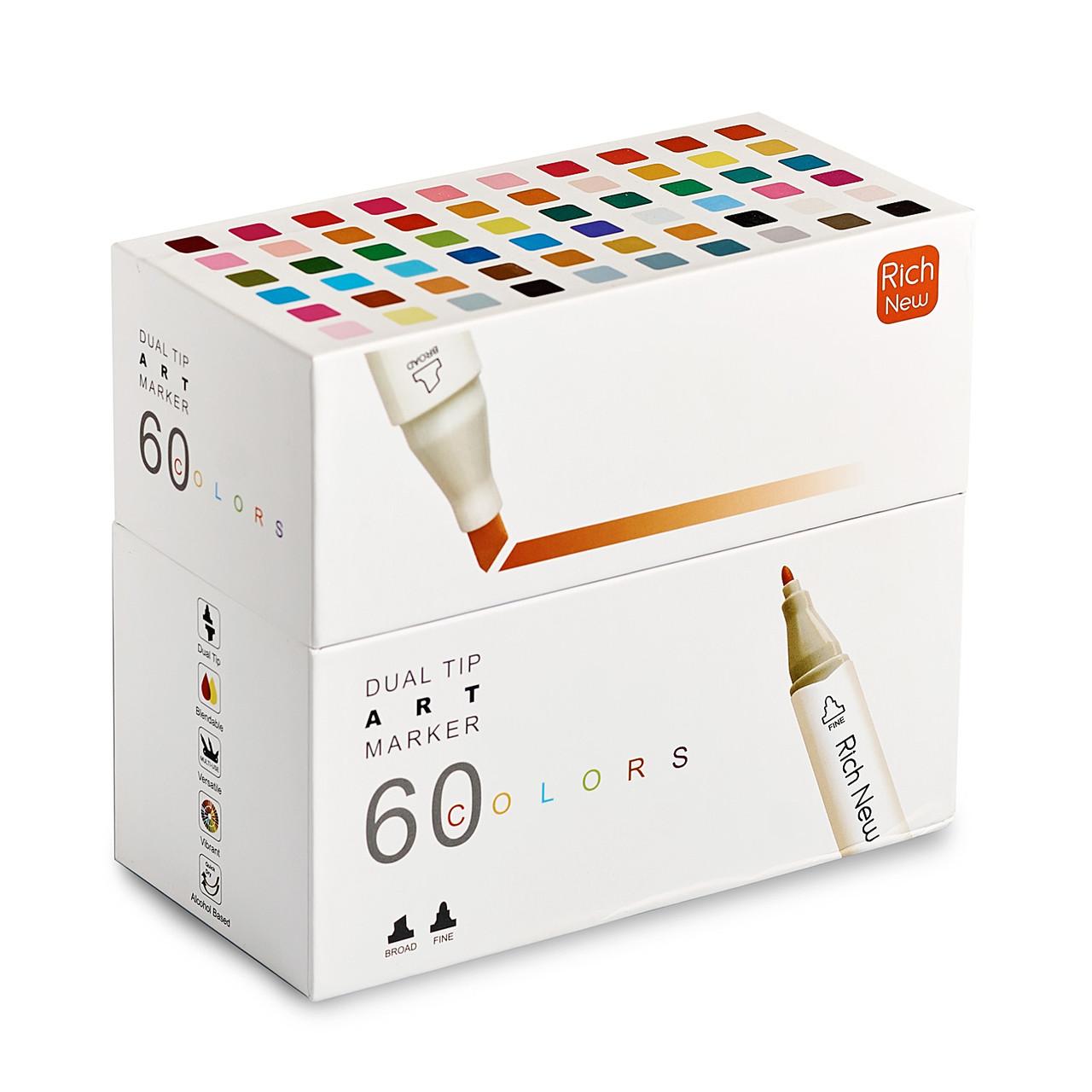 Набор  качественных двусторонних маркеров Rich New для рисования и  скетчинга на спиртовой основе  60 штук
