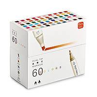 Набор двусторонних маркеров Rich New для рисования и  скетчинга на спиртовой основе  60 штук