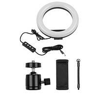 Кольцевой свет для селфи и предметной съемки, косметологии 200 мм. LED Лампа USB PULUZ M-20 Черная