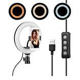 Кольцевой свет для селфи и предметной съемки, косметологии 200 мм. LED Лампа USB PULUZ M-20 Черная, фото 2