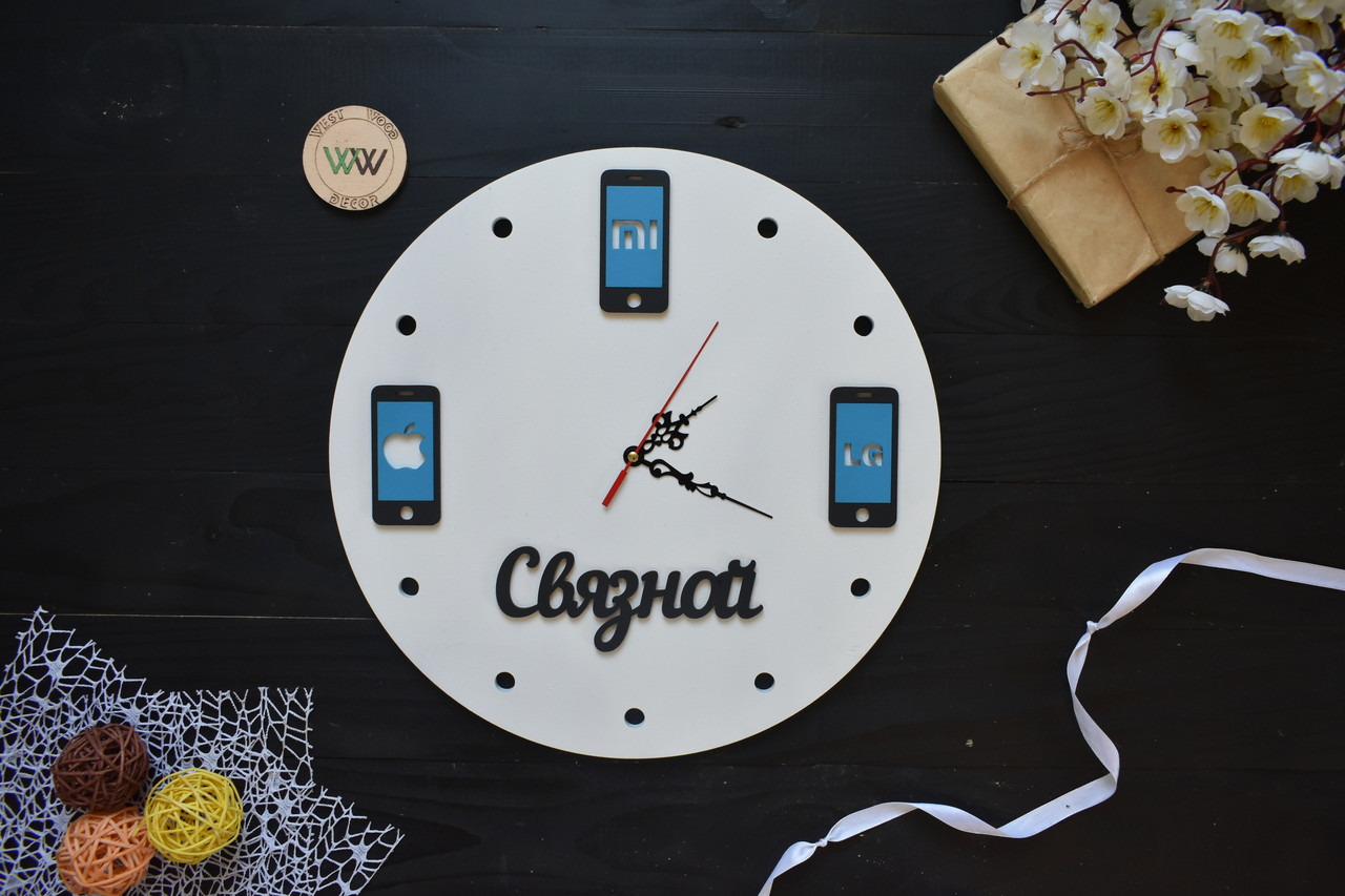 Настенные часы из дерева для магазина техники, часы с названием вашего магазина, часы в виде телефона.