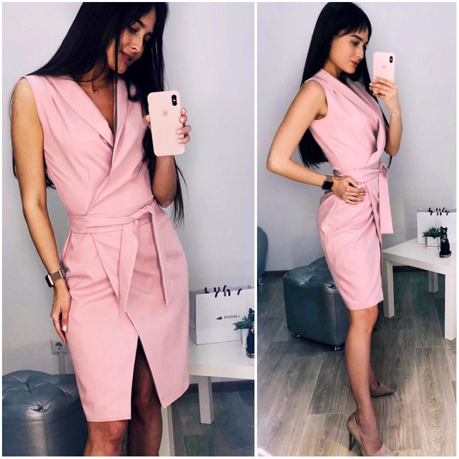 Розовое платье халат Elly (Код MF-438)