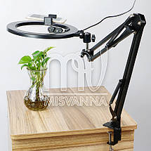 Профессиональная кольцевая лампа настольная 449 с диаметром 26 см, черная, фото 3