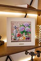 Картина из дерева и керамики Allicienti Гортензии, груша, сливы и мохито 28х28 см