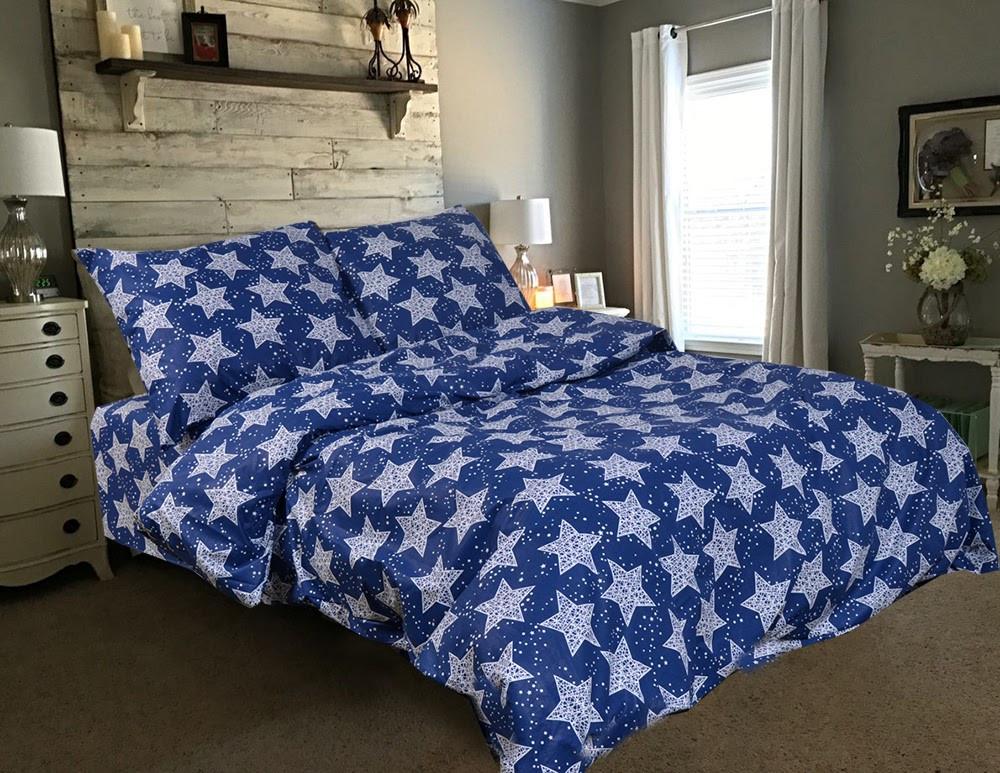 Полуторный размер постельное белье «Звезды на синем»