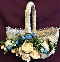 Корзина украшенная для декора большая (40*38*25), фото 1