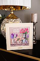 Картина из дерева и керамики Allicienti Тюльпаны и сирень 28х28 см
