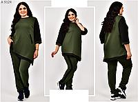 Спортивный костюм женский с асимметричной туникой, с 54-66 размер, фото 1