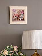 Картина из дерева и керамики Allicienti Розы прованса 28х28 см