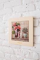 Картина из дерева и керамики Allicienti Нежные розовые пионы 28х28 см