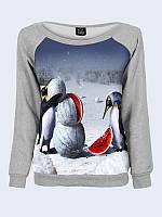 Світшот жіночий меланж+ пінгвін + кавун