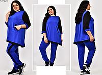 Женский спортивный костюм с асимметричной туникой, с 54-66 размер, фото 1