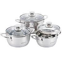 Набор посуды Maestro MR-3510-6L, 6 предметов, нержавеющая сталь | кастрюли с крышками Маэстро, Маестро
