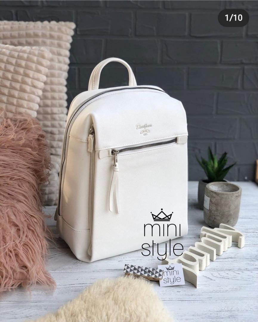 Вместительный женский рюкзак David Jones, белый / жіночий рюкзак