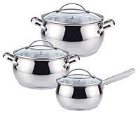 Набор посуды Maestro MR-3501-6L, 6 предметов, нержавеющая сталь | кастрюли с крышками Маэстро