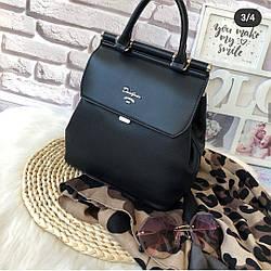 Городской вместительный женский рюкзак - сумка David Jones, черный / жіночий рюкзак