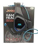 Навушники ігрові дротові геймерські з мікрофоном та підсвіткою JEDE GH205 Чорні з Синім, фото 2