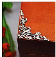 Декор угловой серебро 40х40 мм