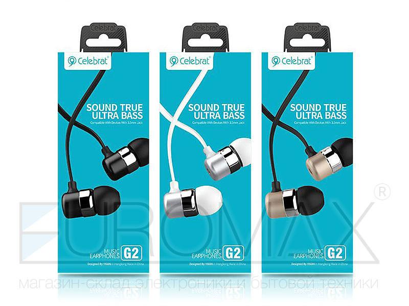 Наушники вакуумные с микрофоном (уп. 50шт) Celebrat 200шт G2-001