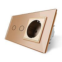 Сенсорный выключатель Livolo 2 канала с розеткой золото стекло (VL-C702/C7C1EU-13), фото 1