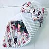 """Одеяло-конверт на выписку для новорожденных Солодкий Сон хлопок/плюш 80х80 см. """"Перья"""" Белый"""