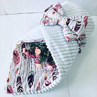 """Одеяло-конверт на выписку для новорожденных Солодкий Сон хлопок/плюш 80х80 см. """"Перья"""" Белый, фото 1"""